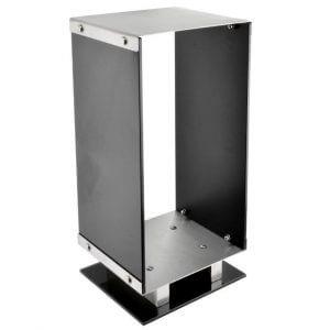 0318 alpha log holder- black glass _ stainless steel